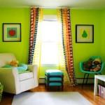 9-camera copil decorata in verde fistic alb si accente colorate