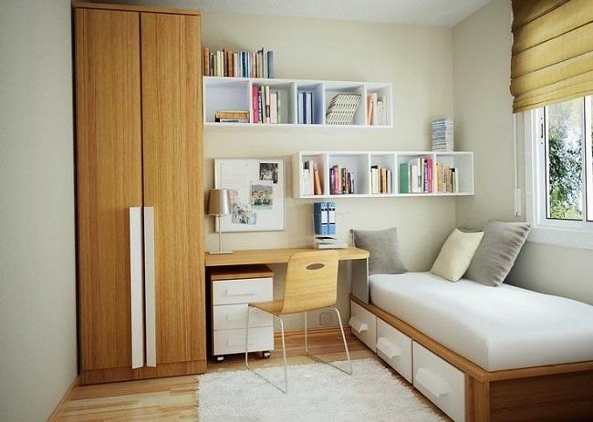 9-camera tineret cu pat birou dulap si rafturi pentru carti