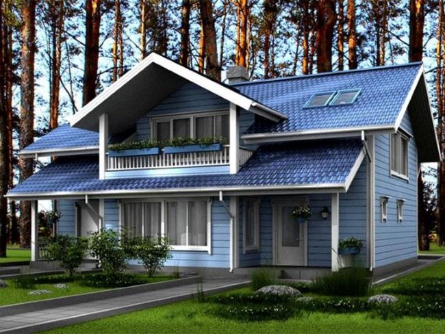 9-casa cu acoperis albastru si fatada bleu cu tamplarie alba