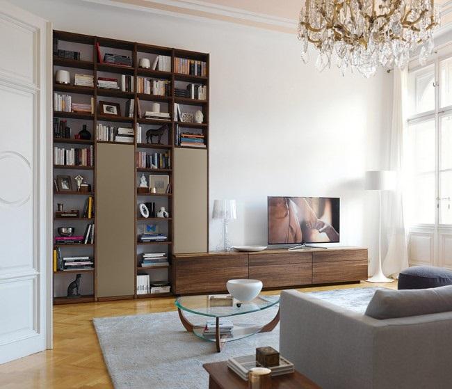 9-comoda tv si biblioteca mobila moderna pentru living