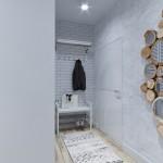 9-compozitie decorativa din oglinzi aplicate pe bucati de lemn decor hol scandinav