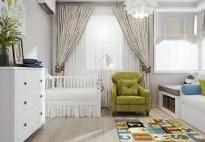 9-decor camera pentru bebelus in alb gri si vernil