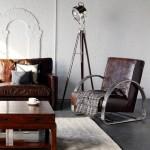 9-decor living masculin vintage cu mobilier din piele si perete placat cu caramida aparenta