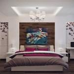 9-dormitor matrimonial elegant pereti placati cu caramida aparenta vopsita in alb
