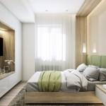 9-dormitor modern amenajat in alb verde olive si lemn