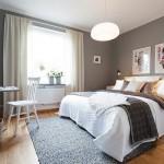 9-dormitor scandinav cu peretii zugraviti in gri si cu mobila alba
