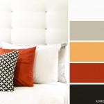 9-dormtior modern decorat in alb negru cu accente gri portocalii si caramizii
