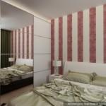9-dressing mare alb cu usi glisante cu oglinda dormitor modern finisat cu tapet cu imprimeu rosu
