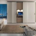 9-dressing modern cu televizor ascuns in spatele usilor glisante