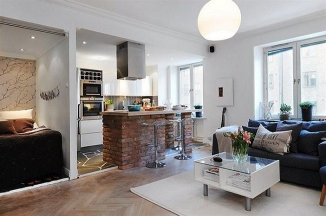 9-exemplu amenajare bucatarie si living open space apartament mic