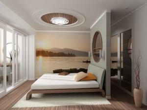 9-fototapet decorativ aplicat pe peretele unui dormitor modern