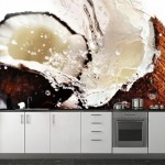 9-fototapet macro bucatarie cu o nuca de cocos sparta in doua