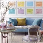 9-galerie cu tablouri pastel decor de primavara perete living