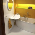 9-idee amenajare baie moderna mica alb si galben