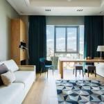 9-idei amenajare living modern cu accente albastre