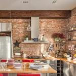 9-insula bucatarie stil industrial perete placat cu caramida si mobila inox