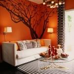 9-living modern zugravit in portocaliu cu accente albe negre si maro