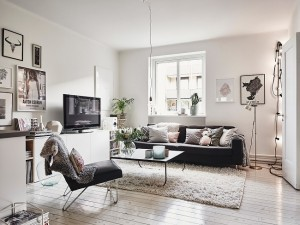 9-living open space apartament scandinav decorat in alb finisat cu caramida aparenta