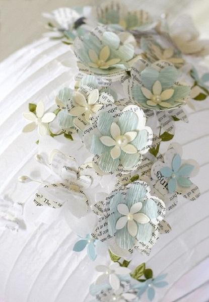 9-lustra cu abajur din hartie decorat cu floricele 3D handmade