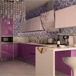 9-mobila bucatarie moderna lila cu crem asortata cu mozaic crem