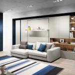 9-mobila living cu canapea spatii depozitare si pat rabatabil la perete