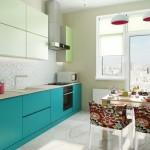9-mobila moderna bucatarie dulapuri inferioare albastre si dulapuri superioare vernil