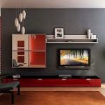 9-mobila tv living modern in alb rosu si negru