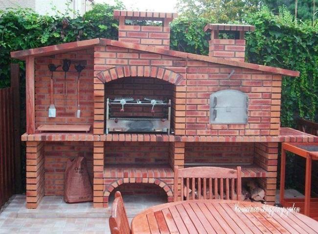 9-model bucatarie de vara din caramida cu gratar cuptor si plita