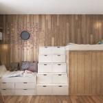 9-paturi supraetajate cu sertare incorporate decor camera copil finisata cu lemn