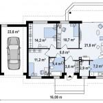 9-plan de compartimentare interioara a casei cu garaj si suprafata locuibila 82 mp