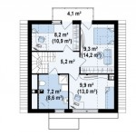 9-plan mansarda casa mica cu mansarda de 111 mp