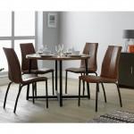 9-scaune structura fier si spatar tapiterie piele maro stil vintage