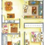 9-schita plan apartament 90 mp cu doua dormitoare