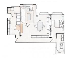 9-schita plan apartament elegant cu doua camere