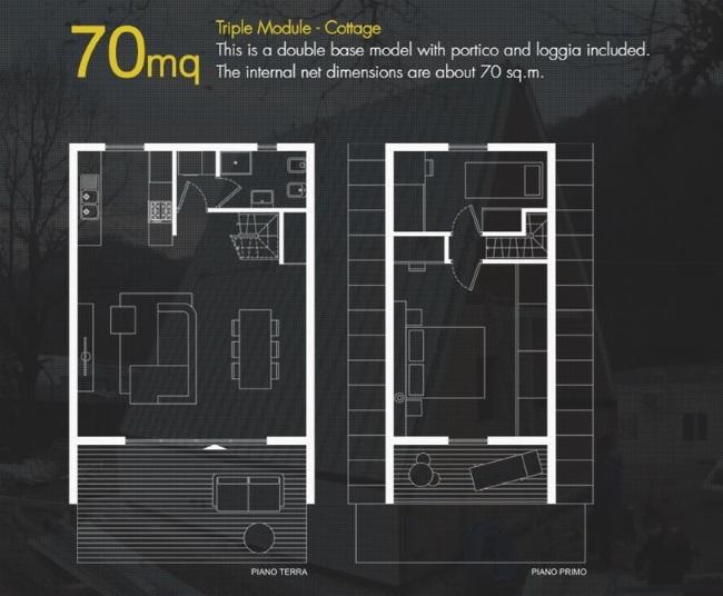 9-schita plan parter si etaj casa prefabricata MADI Home varianta 70 mp cu 2 dormitoare si balcon