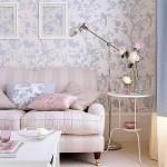 9-tapet cu imprimeu floral decor living modern cu mocheta decorat in roz si bleu