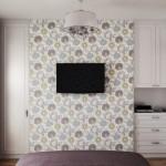 9-televizor montat pe peretele din fata patului din dormitorul mic