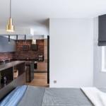 9-vedere din dormitor spre bucataria open space apartament industrial 47 mp