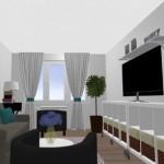 9-vedere spre fereastra living in alb gri si albastru apartament Aida