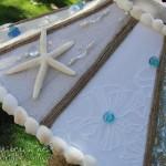 abajur lampa vintage handmade decorat cu scoici margele si stea de mare