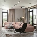 accent cromatic roz pudrat parchet lemn si textile gri amenajare apartament modern