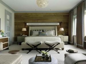 accente rustice perete placat cu lemn dormitor modern