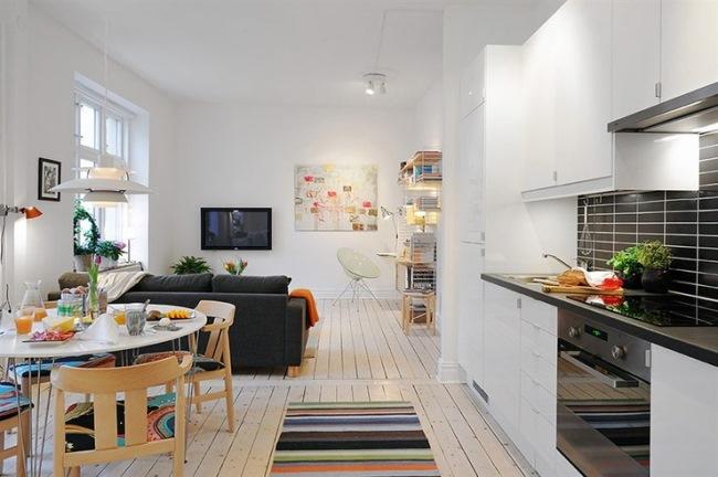 amenajare apartament mic open space pardoseli albe stil scandinav