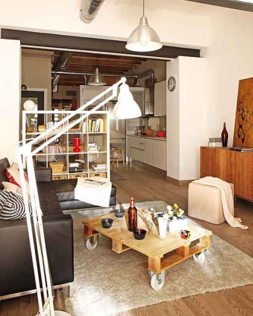 amenajare apartament mic open space stil loft