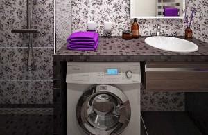 amenajare baie moderna cu spatiu pentru masina de spalat