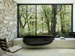 amenajare baie moderna marmura si piatra naturala