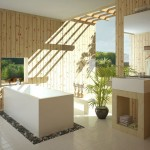 amenajare baie moderna stil minimalist piatra naturala si lemn