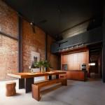 amenajare bucatarie moderna minimalista accente rustice