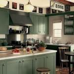 amenajare bucatarie stil clasic mobila culoare verde inchis