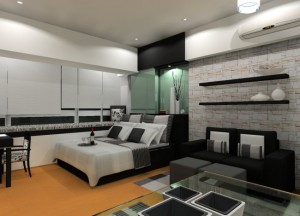 amenajare dormitor masculin alb si negru